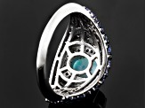 Pre-Owned Blue Larimar, Tanzanite And White Topaz Sterling Silver Ring 1.93ctw