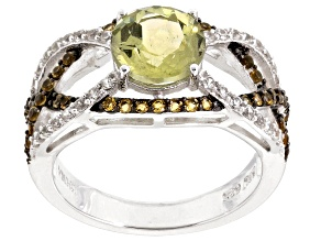 Pre-Owned Yellow Apatite, Citrine And White Zircon Sterling Silver Ring. 2.53ctw