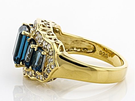 Pre-Owned London Blue Topaz 18k Gold Over Silver Ring 4.16ctw