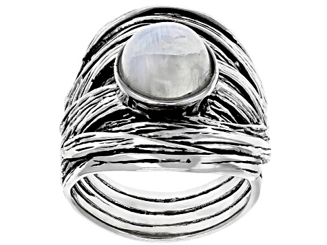 Pre-Owned White moonstone rhodium over silver ring