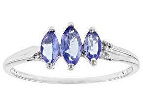 Pre-Owned Blue Tanzanite 10k White Gold Ring 0.46ctw