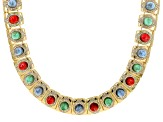 Pre-Owned Off Park ® Collection Multicolor Crystal Gold Tone Statement Necklace