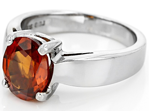 Pre-Owned Red Hessonite Sterling Silver Solitaire Ring 2.55ct