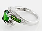 Pre-Owned Green Chrome Diopside And White Zircon Sterling Silver Ring 2.20ctw