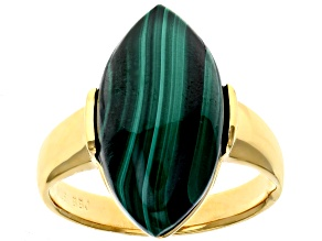 Pre-Owned Green Malachite 18k Gold Over Silver Ring