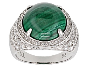 Pre-Owned Green malachite rhodium over silver ring 1.00ctw