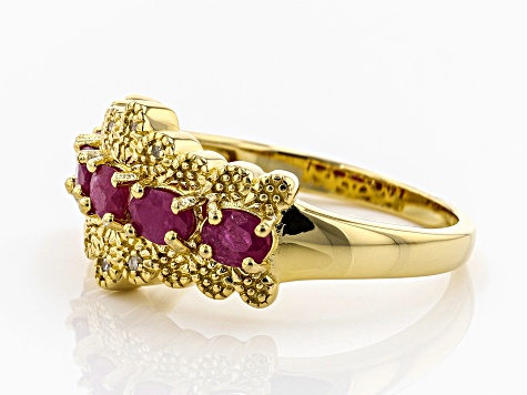 Pre-Owned Red Burmese ruby 18k gold over silver ring 1.07ctw