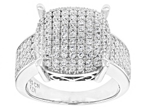 Pre-Owned White Cubic Zirconia Rhodium Over Silver Ring 1.48ctw