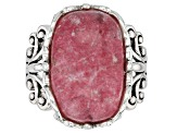 Pre-Owned Pink thulite rhodium over silver ring