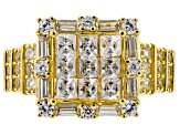 Pre-Owned White zircon 18k yellow gold over silver ring 2.36ctw