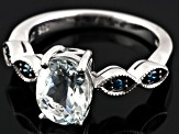 Pre-Owned Blue Brazilian Aquamarine Sterling Silver Ring 1.47ctw