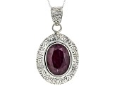 Pre-Owned Red Ruby Sterling Silver Pendant With Chain 16.52ct