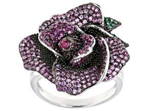 Pre-Owned Lab Created Red Corundum & Emerald Simulant Rhodium Over Silver Rose Ring 2.26ctw