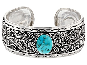 Pre-Owned Turquoise Silver Floral Cuff Bracelet