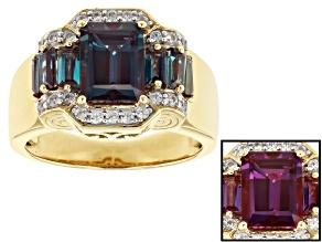 Pre-Owned Color Change Lab Created Alexandrite 18k Gold Over Silver Ring 2.86ctw