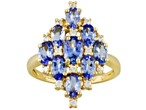 Pre-Owned Tanzanite And White Zircon 18k Gold Over Silver Ring 2.20ctw