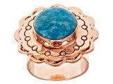 Pre-Owned Blue Morenci Turquoise 18k Rose Gold Over Sterling Silver Ring