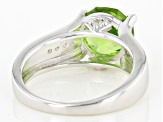 Pre-Owned Green Peridot Sterling Silver Ring 3.03ctw