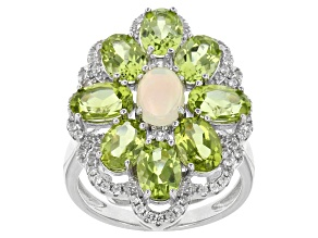 Pre-Owned Ethiopian Opal, Peridot And White Zircon Sterling Silver Ring 5.02ctw