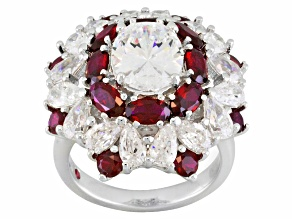 Pre-Owned Lab Created Ruby And Cubic Zirconia Platineve Ring 13.73ctw