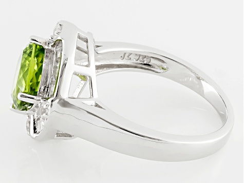 Pre-Owned Green Peridot And White Topaz Sterling Silver Ring 3.46ctw