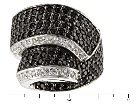 Pre-Owned Black Spinel And White Zircon Sterling Silver Ring 1.39ctw