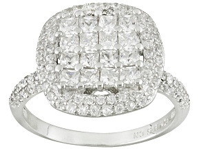 Pre-Owned White Cubic Zirconia Rhodium Over Sterling Silver Ring 2.36ctw