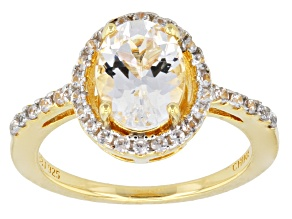Pre-Owned White Danburite And White Zircon 18k Yellow Gold Over Sterling Silver Ring. 1.96ctw