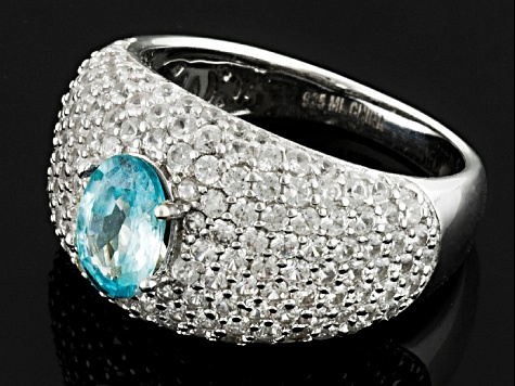 Pre-Owned Blue Cambodian Zircon Sterling Silver Ring 4.58ctw