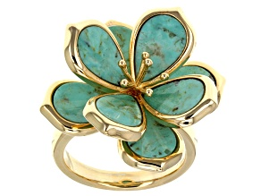 Pre-Owned Turquoise 18k Yellow Gold Over Bass Floral Ring