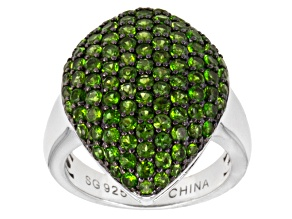 Pre-Owned Green Russian Chrome Diopside Sterling Silver Ring 2.08ctw