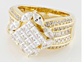 Pre-Owned Cubic Zirconia 18k Yellow Gold Over Silver Ring 4.28ctw (2.02ctw DEW)