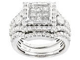 Pre-Owned White Diamond 10k White Gold Ring With Two Matching Bands 2.00ctw