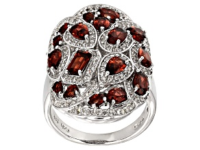 Pre-Owned Red Garnet Sterling Silver Ring 4.30ctw