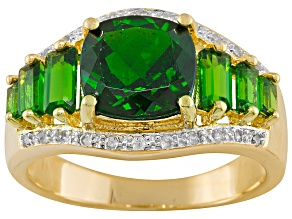 Pre-Owned Green Chrome Diopside And White Topaz 18k Gold Over Silver Ring 2.54ctw