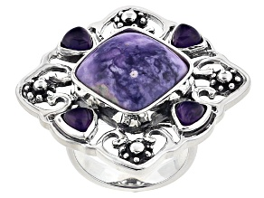 Pre-Owned Purple Mexican Opal And Amethyst Sterling Silver Ring