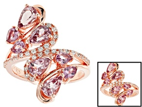 Pre-Owned Color shift garnet 18k rose gold over silver ring 2.37ctw