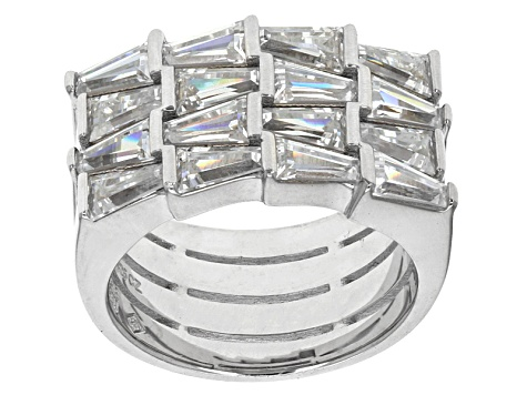 Pre-Owned Cubic Zirconia Rhodium Over Sterling Silver Ring 5.60ctw