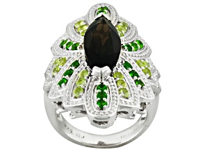 Pre-Owned Brown Smoky Quartz, Peridot And Chrome Diopside Sterling Silver Ring 5.30ctw