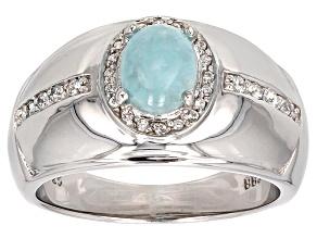 Pre-Owned Blue Hemimorphite Sterling Silver Ring  .26ctw