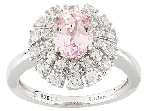 Pre-Owned Pink Kunzite And White Zircon Sterling Silver Ring 2.40ctw