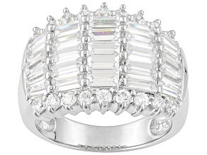 Pre-Owned Rhodium Plated Sterling Silver Cubic Zirconia Ring 5.46ctw