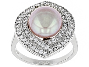 Pre-Owned 10-11mm Pink Cultured Kasumiga Pearl & Bella Luce(TM) Diamond Simulant Rhodium Over Silver