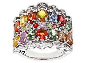 Pre-Owned Multi-Sapphire Sterling Silver Ring 4.69ctw