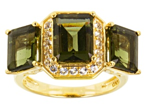Pre-Owned Moldavite And White Topaz 18k Yellow Gold Over Sterling Silver Ring 4.67ctw