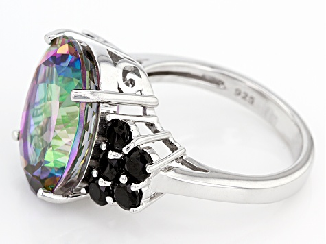 Pre-Owned Green Mystic Topaz® Sterling Silver Ring 10.20ctw