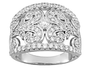 Pre-Owned Rhodium Plated Sterling Silver Cubic Zirconia Ring 2.09ctw