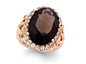 Pre-Owned Quartz And Topaz 18kt Rose Gold Over Sterling Silver Ring 11ctw