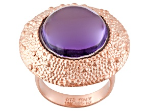 Pre-Owned Purple Glass Cabochon 18k Rose Gold Over Bronze Ring