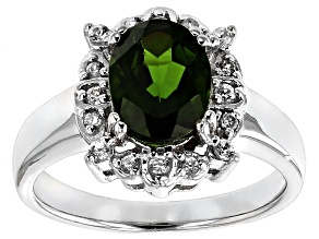 Pre-Owned Green Chrome Diopside And White Zircon Sterling Silver Ring 1.87ctw